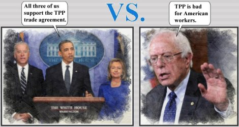 Hillary supports TPP; Bernie says it is bad